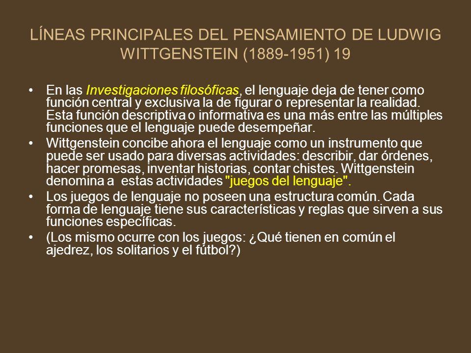LÍNEAS PRINCIPALES DEL PENSAMIENTO DE LUDWIG WITTGENSTEIN (1889-1951) 19