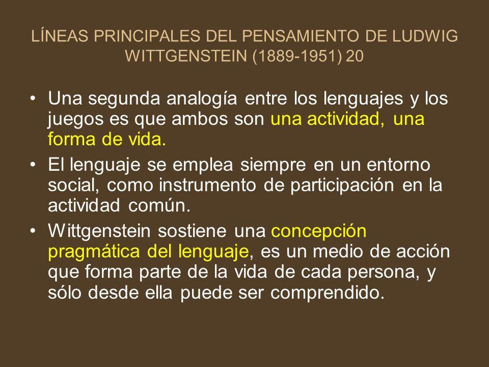 LÍNEAS PRINCIPALES DEL PENSAMIENTO DE LUDWIG WITTGENSTEIN (1889-1951) 20