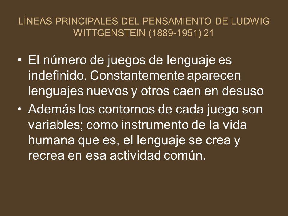 LÍNEAS PRINCIPALES DEL PENSAMIENTO DE LUDWIG WITTGENSTEIN (1889-1951) 21