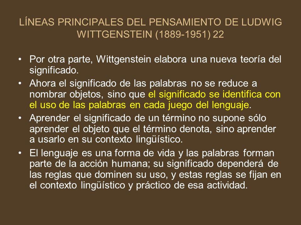 LÍNEAS PRINCIPALES DEL PENSAMIENTO DE LUDWIG WITTGENSTEIN (1889-1951) 22