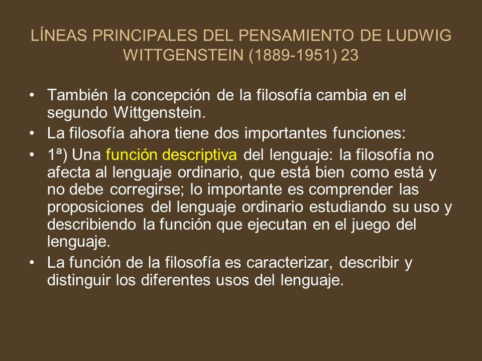 LÍNEAS PRINCIPALES DEL PENSAMIENTO DE LUDWIG WITTGENSTEIN (1889-1951) 23