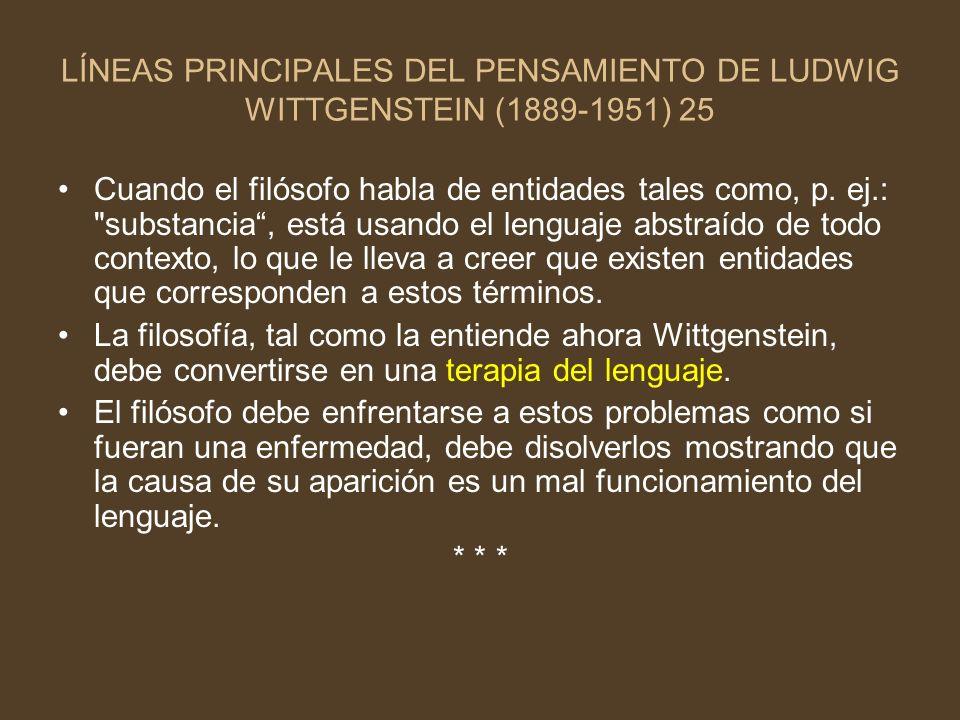 LÍNEAS PRINCIPALES DEL PENSAMIENTO DE LUDWIG WITTGENSTEIN (1889-1951) 25