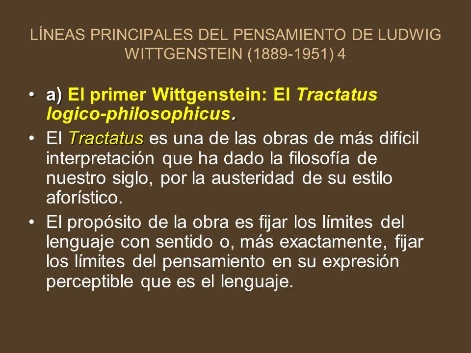 a) El primer Wittgenstein: El Tractatus logico-philosophicus.