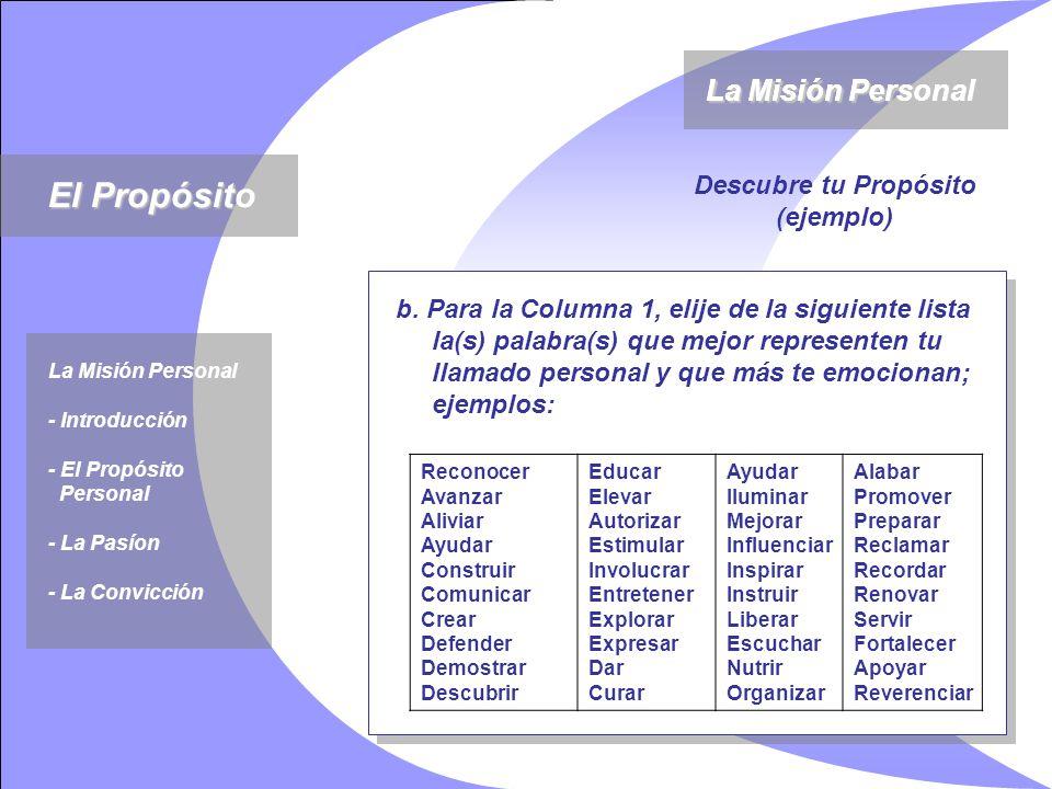 El Propósito La Misión Personal La Misión Personal