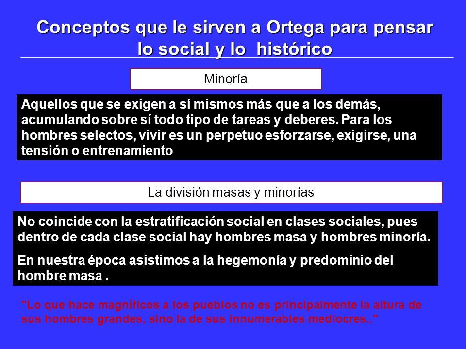 Conceptos que le sirven a Ortega para pensar lo social y lo histórico