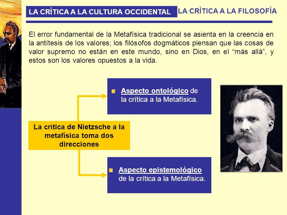 La crítica de Nietzsche a la metafísica toma dos direcciones