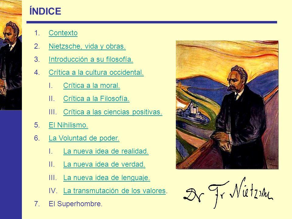 ÍNDICE Contexto Nietzsche, vida y obras. Introducción a su filosofía.