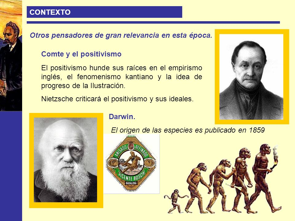 CONTEXTO Otros pensadores de gran relevancia en esta época. Comte y el positivismo.
