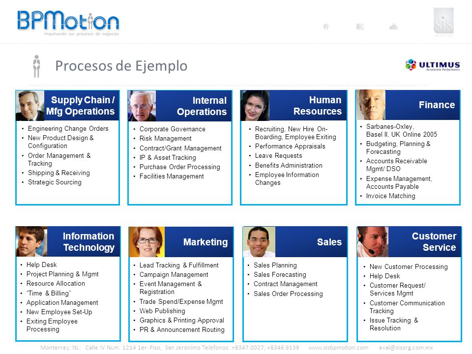 Procesos de Ejemplo Supply Chain / Mfg Operations Internal Operations