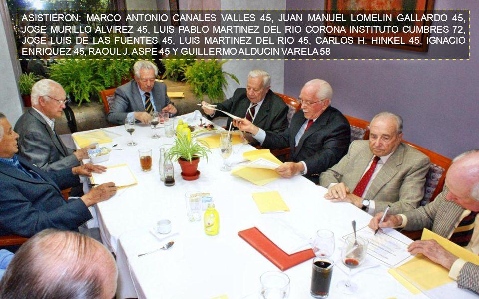 ASISTIERON: MARCO ANTONIO CANALES VALLES 45, JUAN MANUEL LOMELIN GALLARDO 45, JOSE MURILLO ALVIREZ 45, LUIS PABLO MARTINEZ DEL RIO CORONA INSTITUTO CUMBRES 72, JOSE LUIS DE LAS FUENTES 45, LUIS MARTINEZ DEL RIO 45, CARLOS H.
