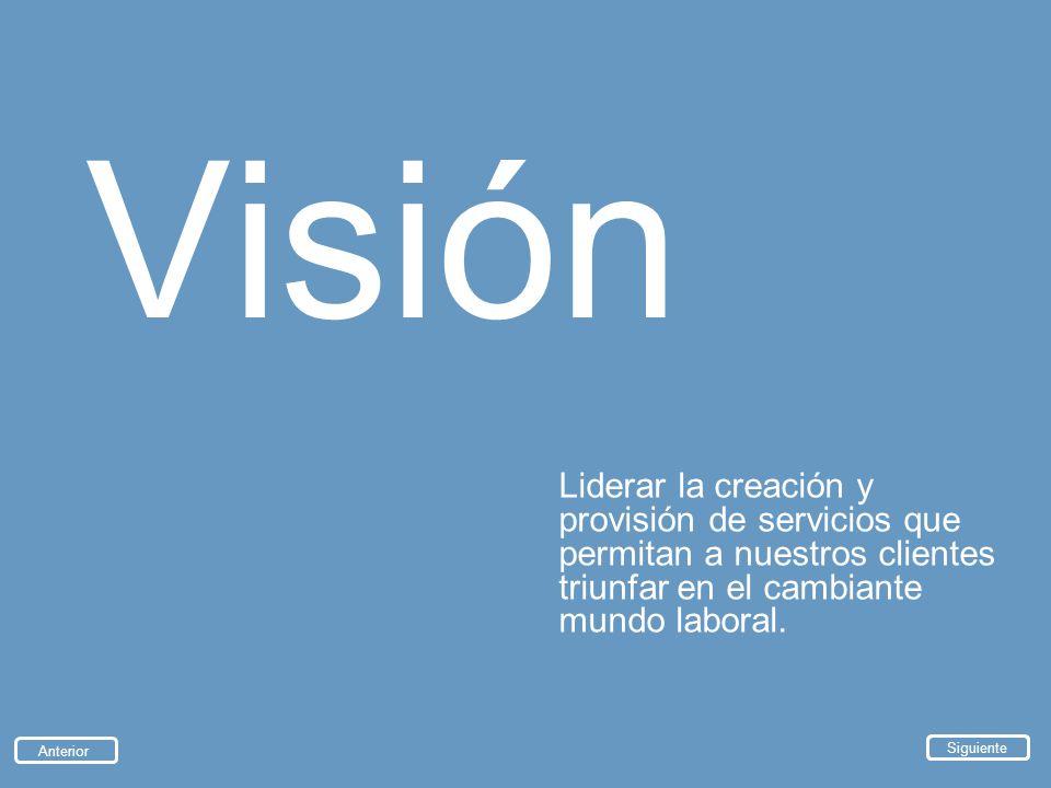 Visión Liderar la creación y provisión de servicios que permitan a nuestros clientes triunfar en el cambiante mundo laboral.