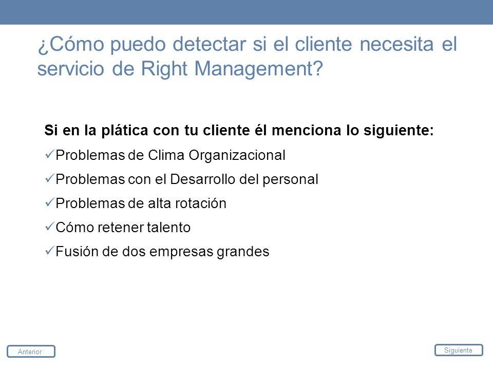 ¿Cómo puedo detectar si el cliente necesita el servicio de Right Management