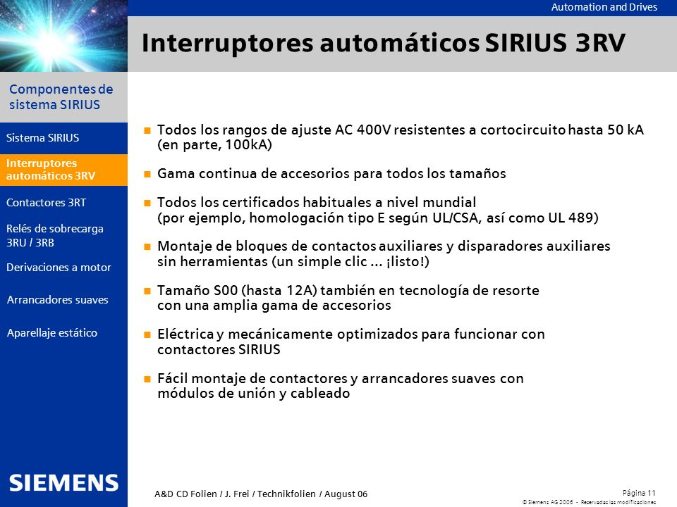 Interruptores automáticos SIRIUS 3RV