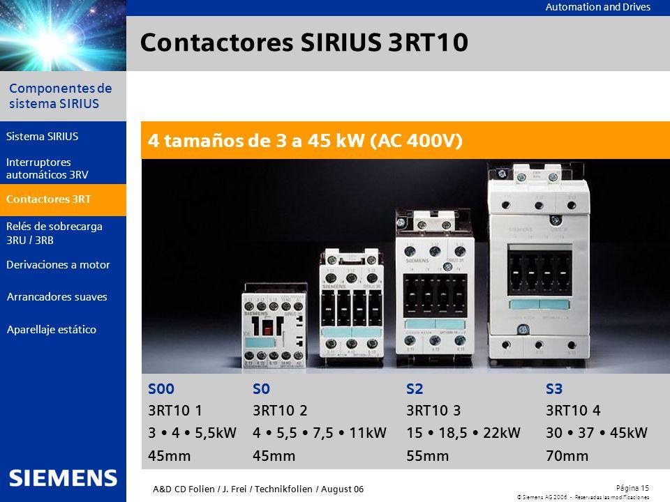 Contactores SIRIUS 3RT10 4 tamaños de 3 a 45 kW (AC 400V) S00 S0 S2 S3
