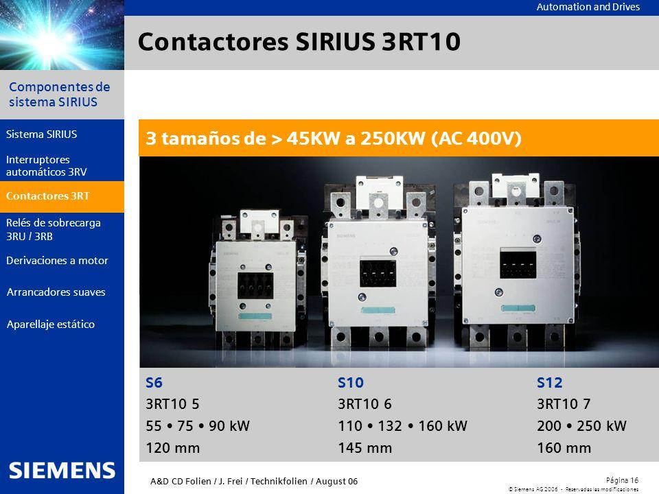 Contactores SIRIUS 3RT10 3 tamaños de > 45KW a 250KW (AC 400V)