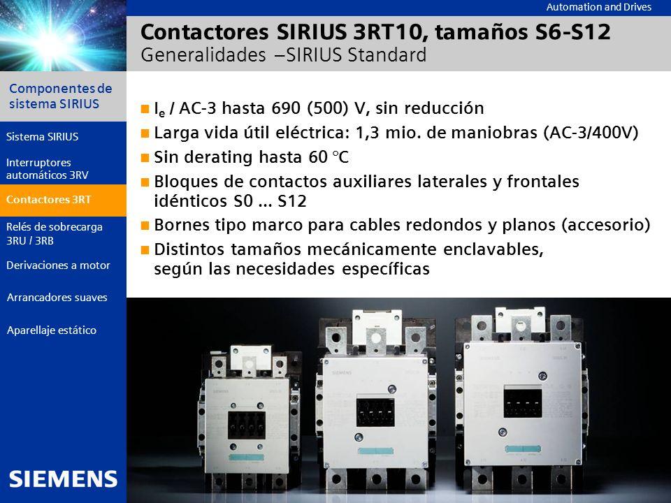 Contactores SIRIUS 3RT10, tamaños S6-S12 Generalidades –SIRIUS Standard