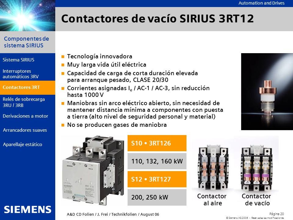Contactores de vacío SIRIUS 3RT12