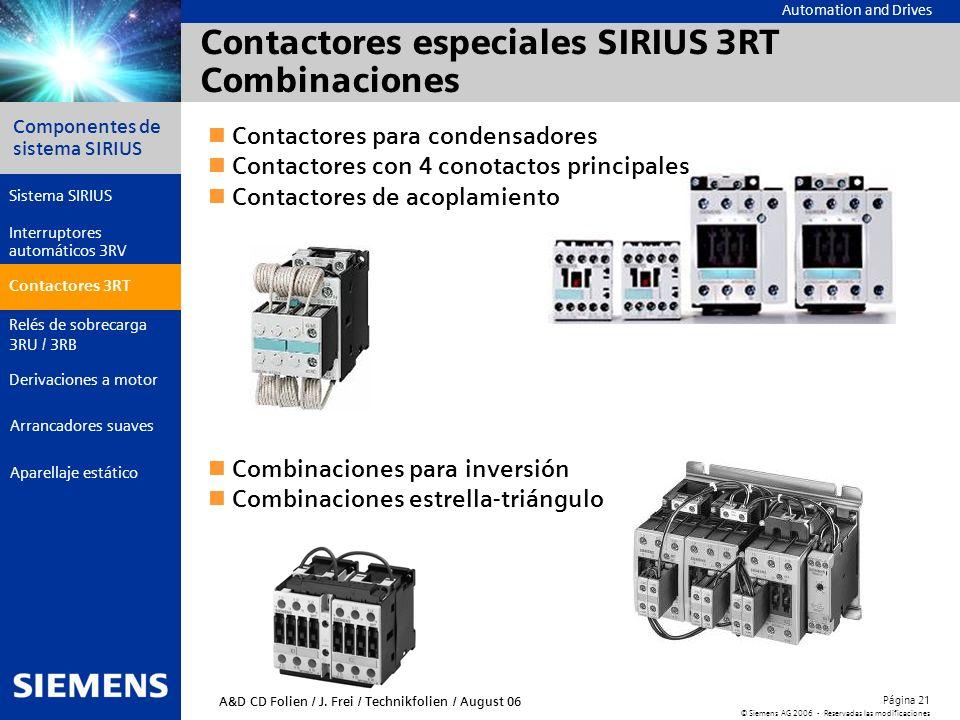 Contactores especiales SIRIUS 3RT Combinaciones