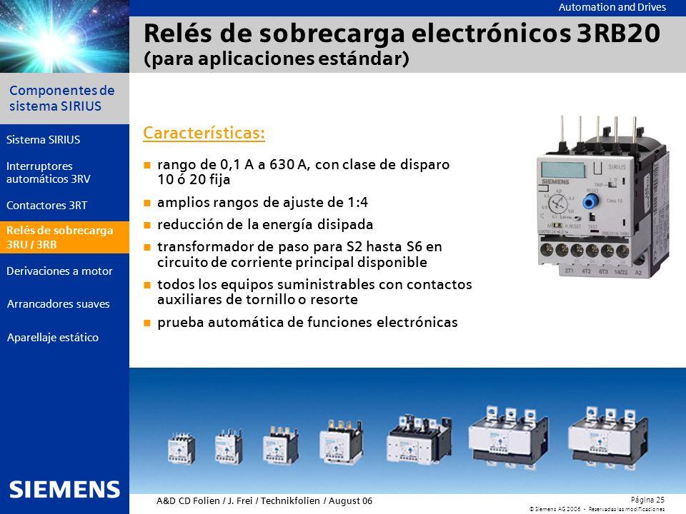Relés de sobrecarga electrónicos 3RB20 (para aplicaciones estándar)