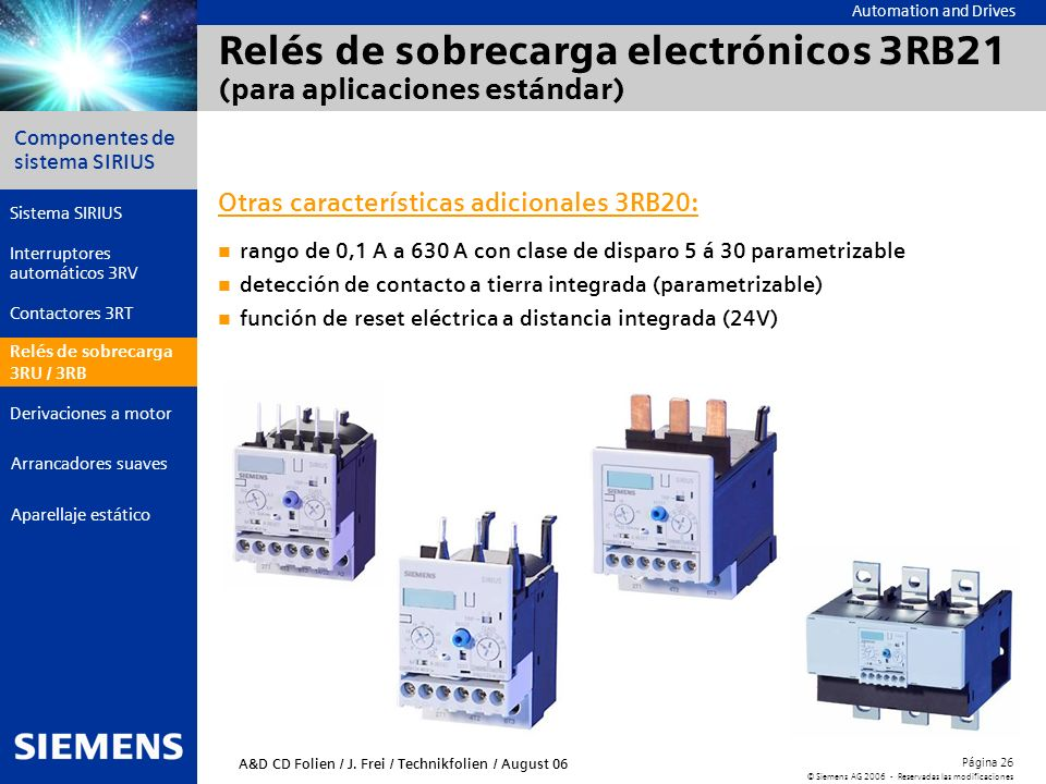 Relés de sobrecarga electrónicos 3RB21 (para aplicaciones estándar)