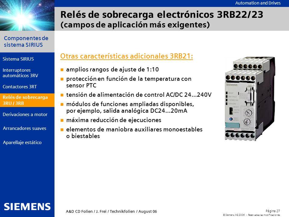 Relés de sobrecarga electrónicos 3RB22/23 (campos de aplicación más exigentes)