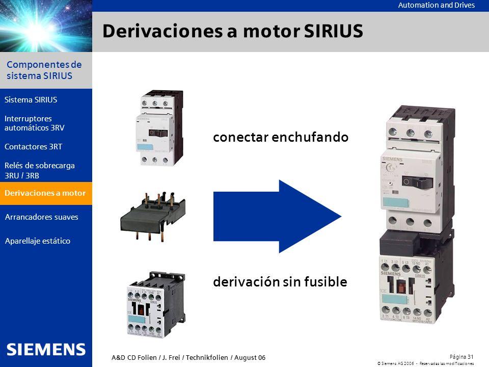 Derivaciones a motor SIRIUS