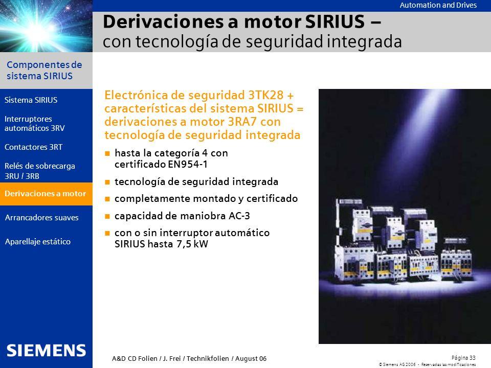Derivaciones a motor SIRIUS – con tecnología de seguridad integrada