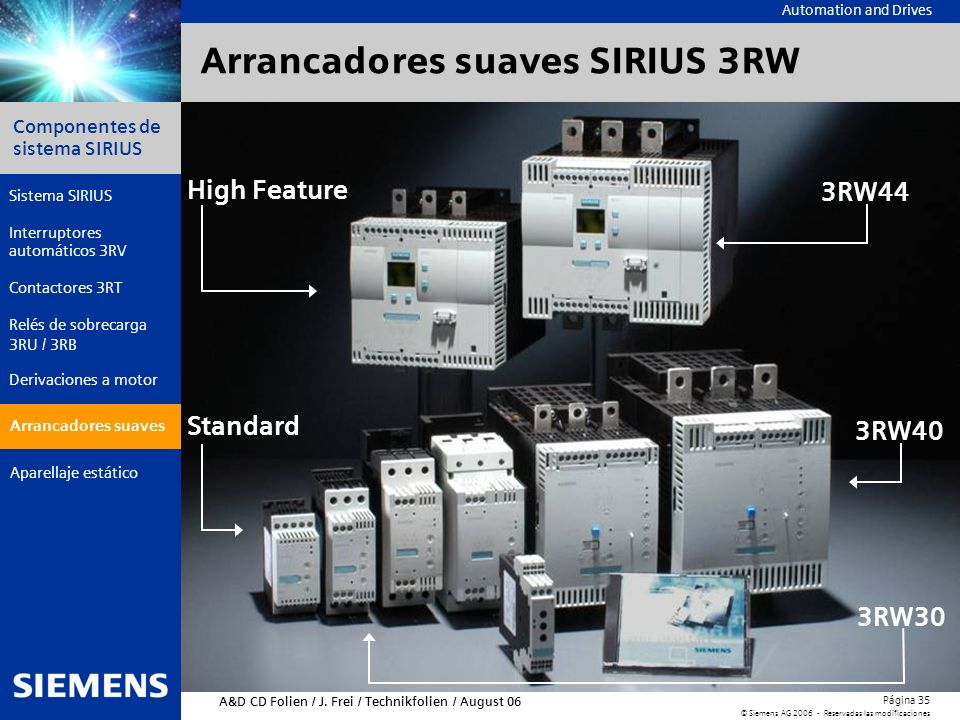 Arrancadores suaves SIRIUS 3RW