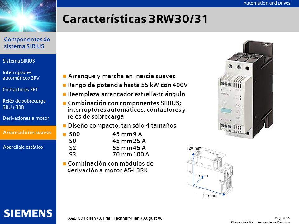 Características 3RW30/31 Arranque y marcha en inercia suaves
