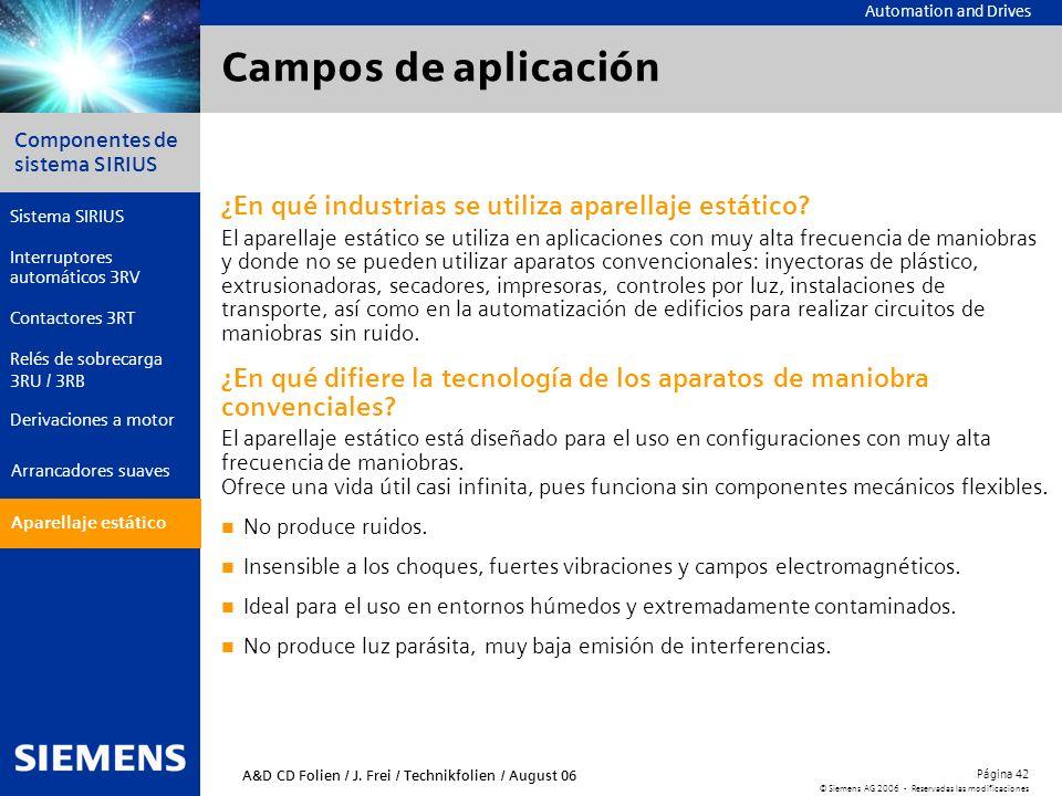 Campos de aplicación ¿En qué industrias se utiliza aparellaje estático