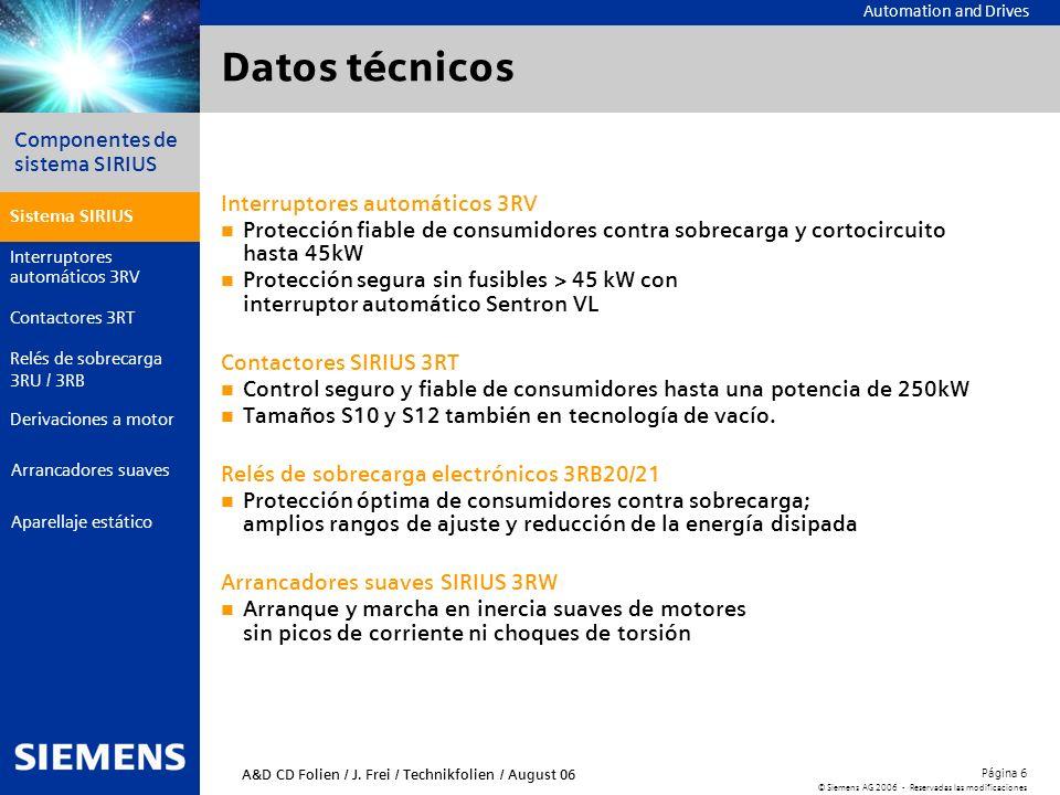 Datos técnicos Interruptores automáticos 3RV
