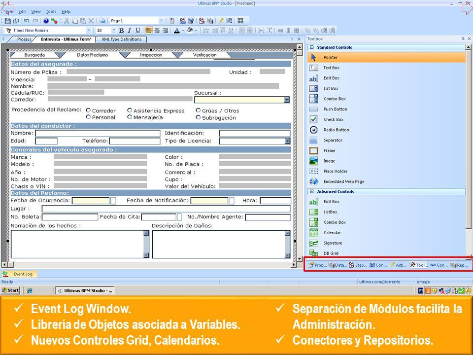 Event Log Window. Librería de Objetos asociada a Variables. Nuevos Controles Grid, Calendarios. Separación de Módulos facilita la Administración.