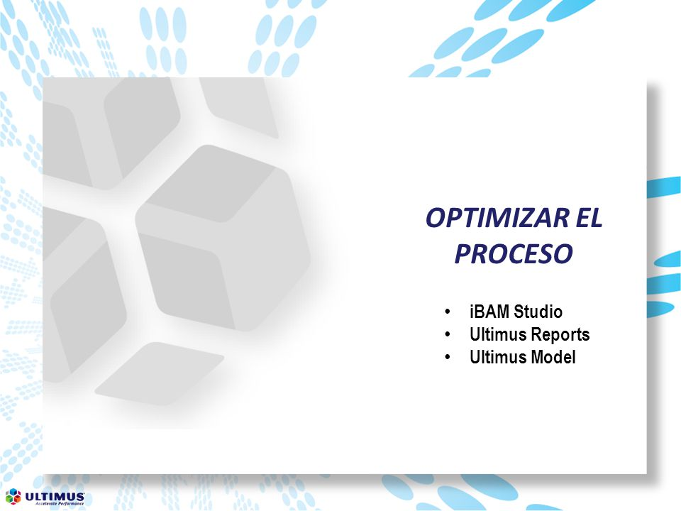 OPTIMIZAR EL PROCESO iBAM Studio Ultimus Reports Ultimus Model