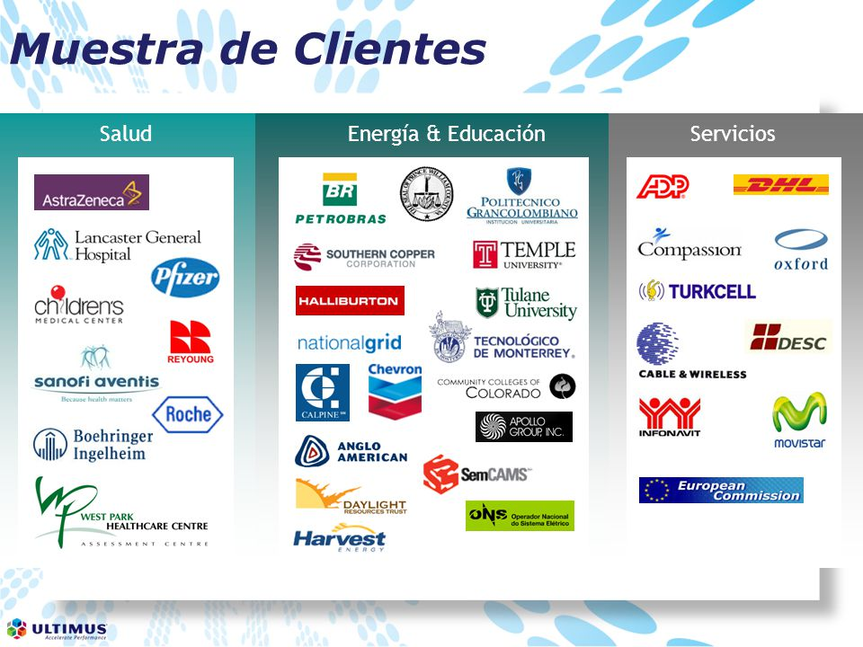 Muestra de Clientes Salud Energía & Educación Servicios 7