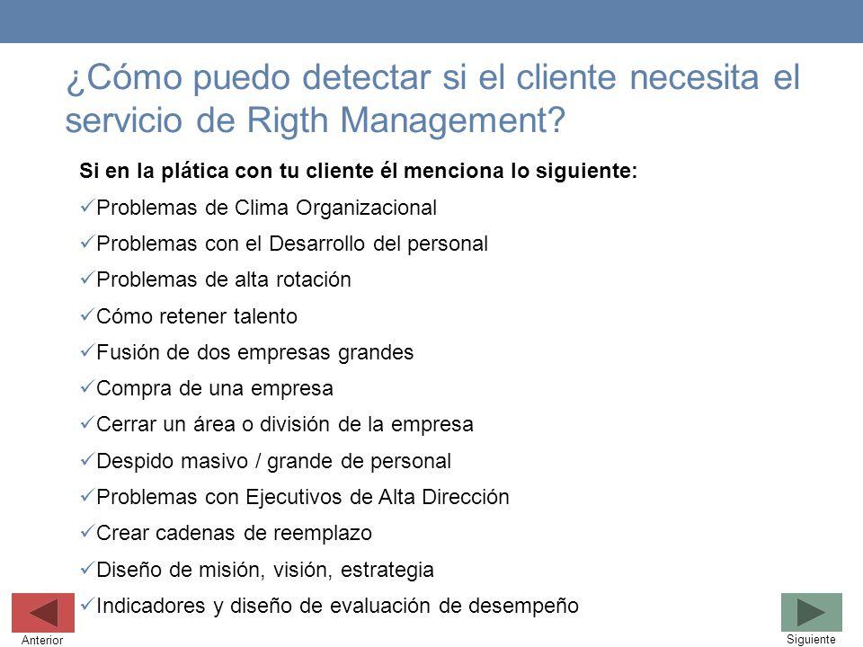 ¿Cómo puedo detectar si el cliente necesita el servicio de Rigth Management