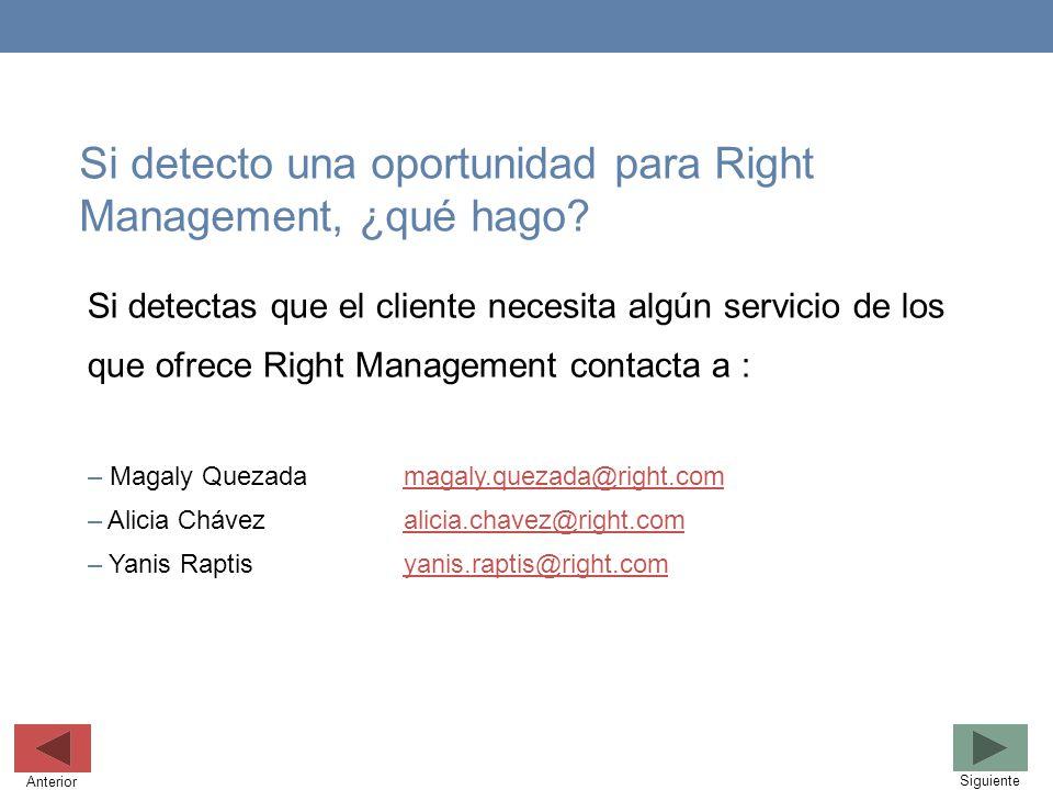 Si detecto una oportunidad para Right Management, ¿qué hago