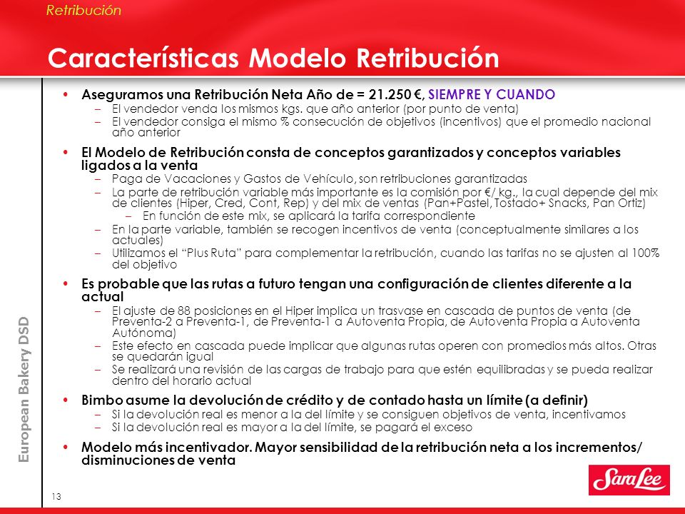 Características Modelo Retribución