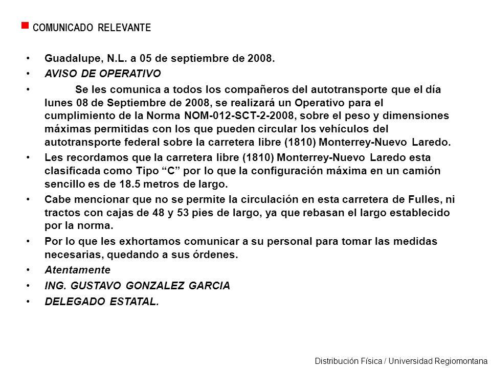 COMUNICADO RELEVANTE Guadalupe, N.L. a 05 de septiembre de 2008. AVISO DE OPERATIVO.