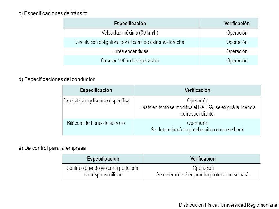 c) Especificaciones de tránsito