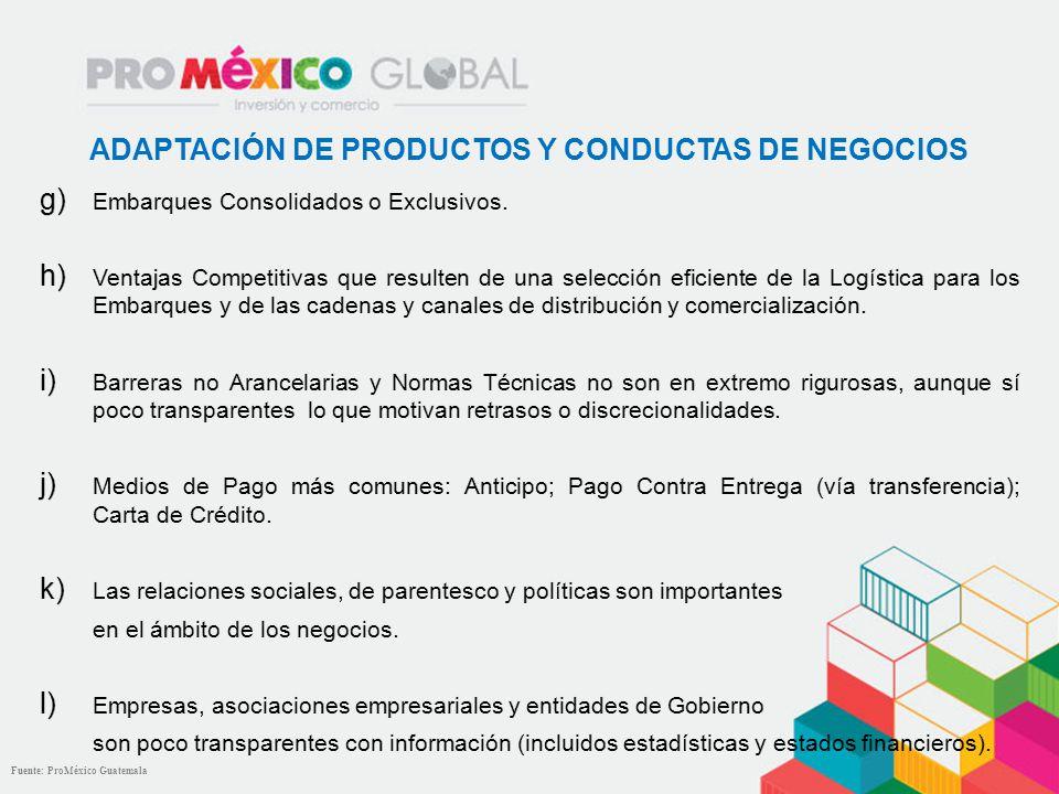 ADAPTACIÓN DE PRODUCTOS Y CONDUCTAS DE NEGOCIOS