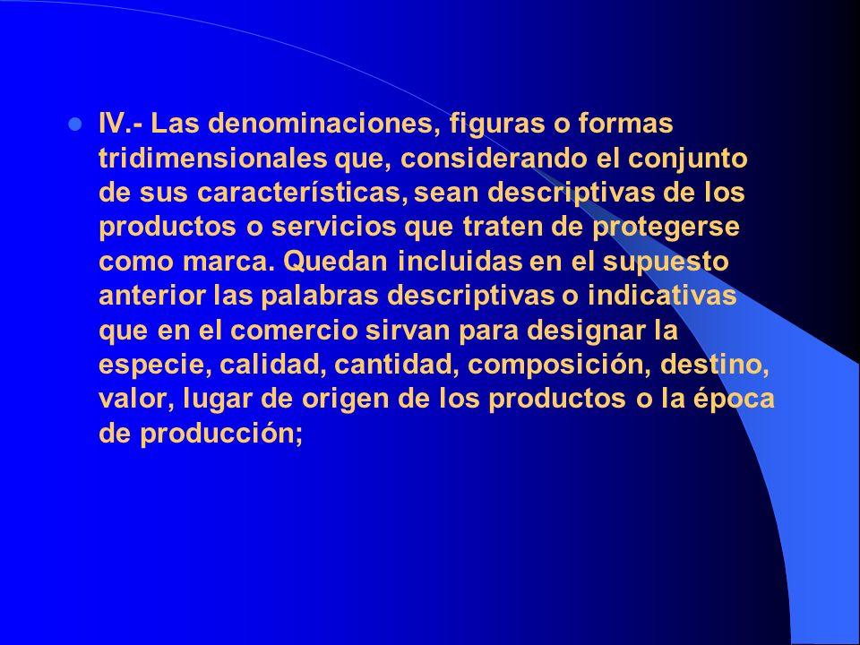 IV.- Las denominaciones, figuras o formas tridimensionales que, considerando el conjunto de sus características, sean descriptivas de los productos o servicios que traten de protegerse como marca.