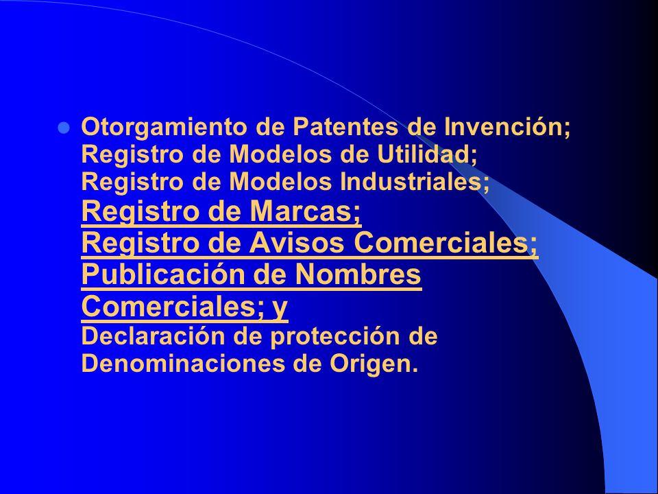 Otorgamiento de Patentes de Invención; Registro de Modelos de Utilidad; Registro de Modelos Industriales; Registro de Marcas; Registro de Avisos Comerciales; Publicación de Nombres Comerciales; y Declaración de protección de Denominaciones de Origen.