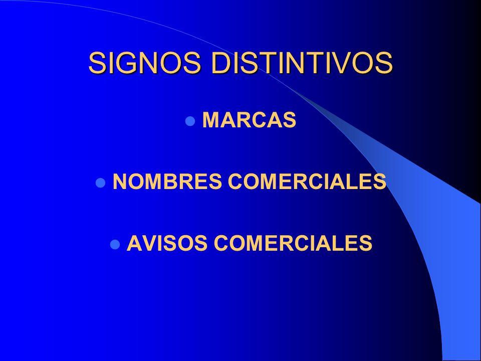 SIGNOS DISTINTIVOS MARCAS NOMBRES COMERCIALES AVISOS COMERCIALES