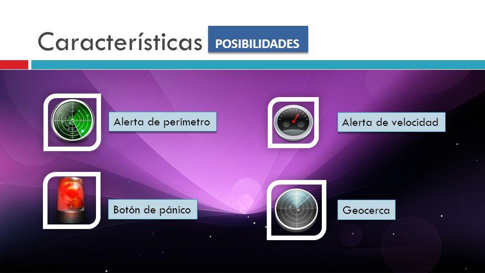 Características POSIBILIDADES Alerta de perímetro Alerta de velocidad