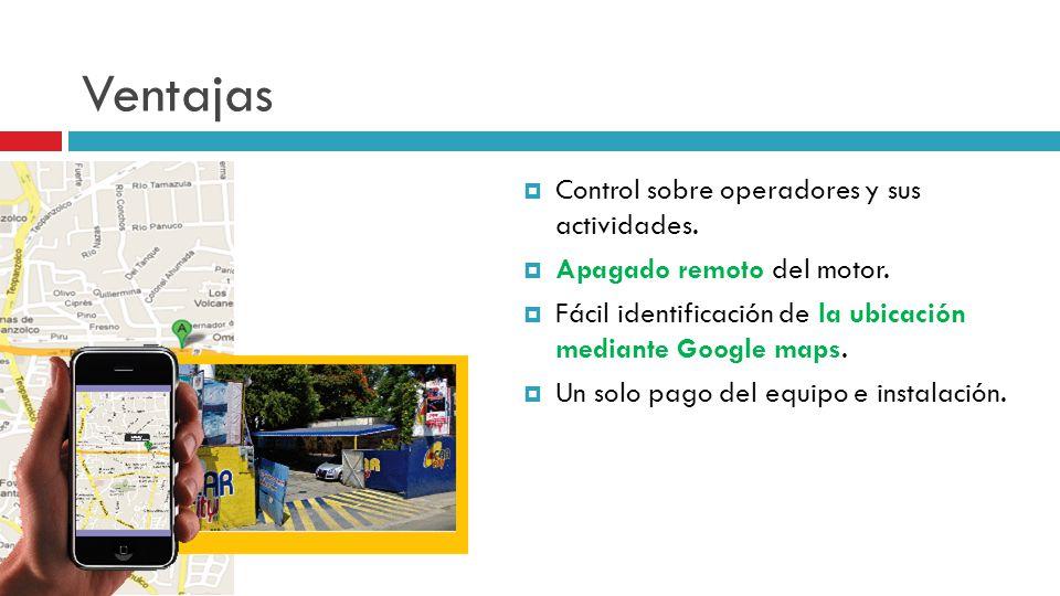 Ventajas Control sobre operadores y sus actividades.