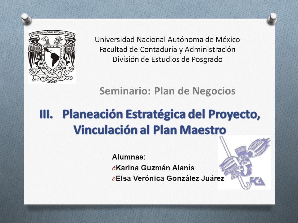 III. Planeación Estratégica del Proyecto, Vinculación al Plan Maestro