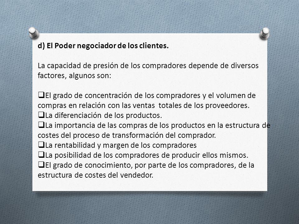 d) El Poder negociador de los clientes.