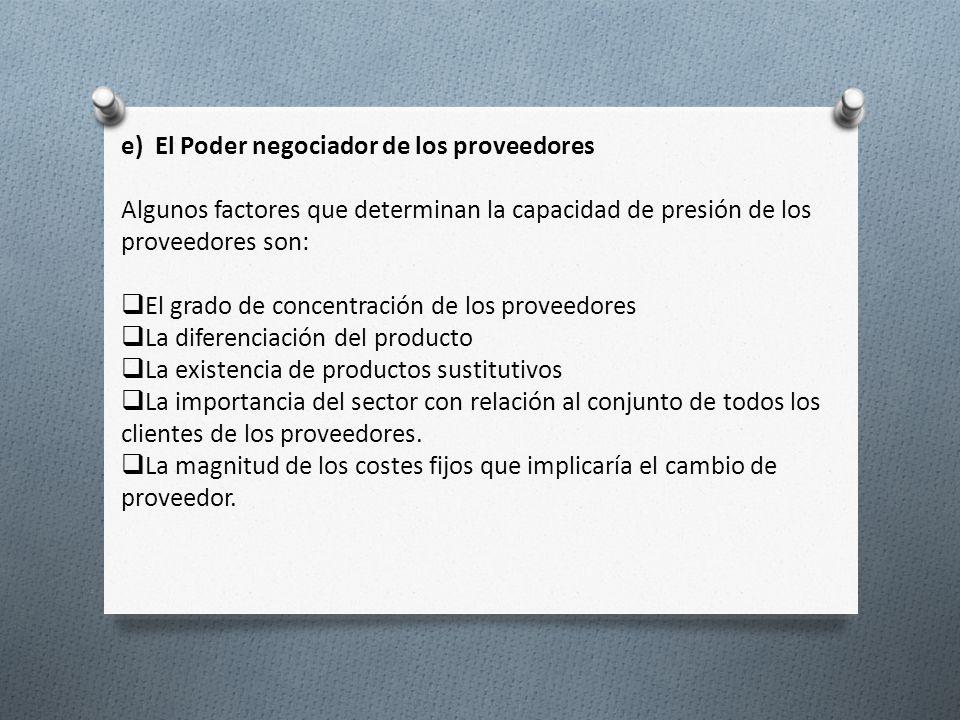 e) El Poder negociador de los proveedores