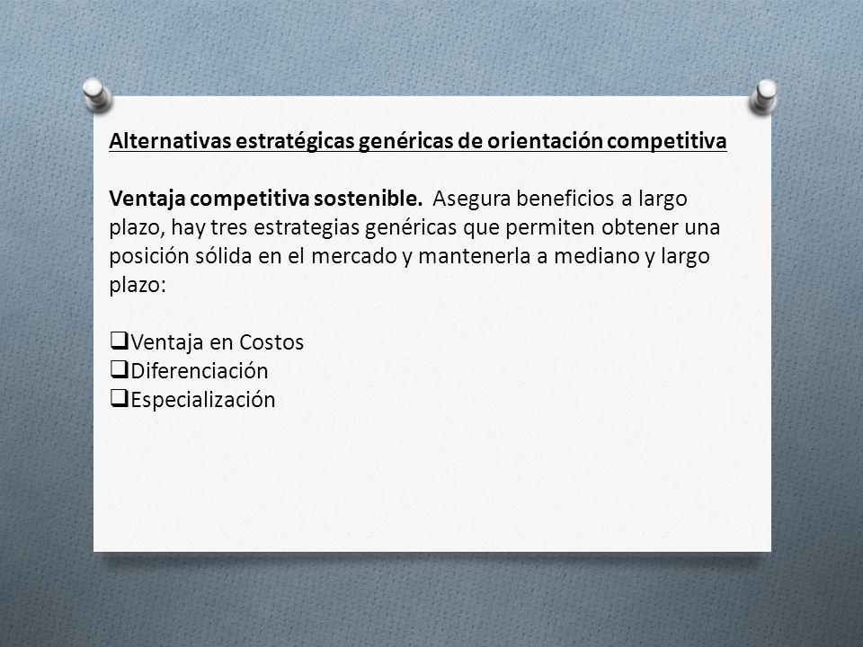 Alternativas estratégicas genéricas de orientación competitiva