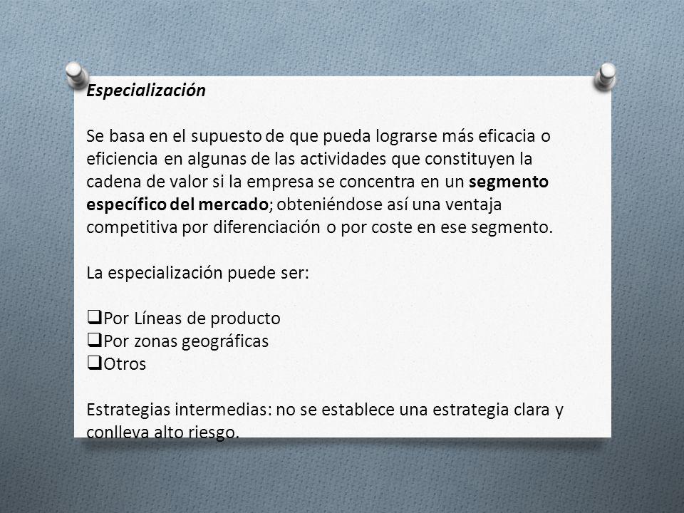 La especialización puede ser: Por Líneas de producto